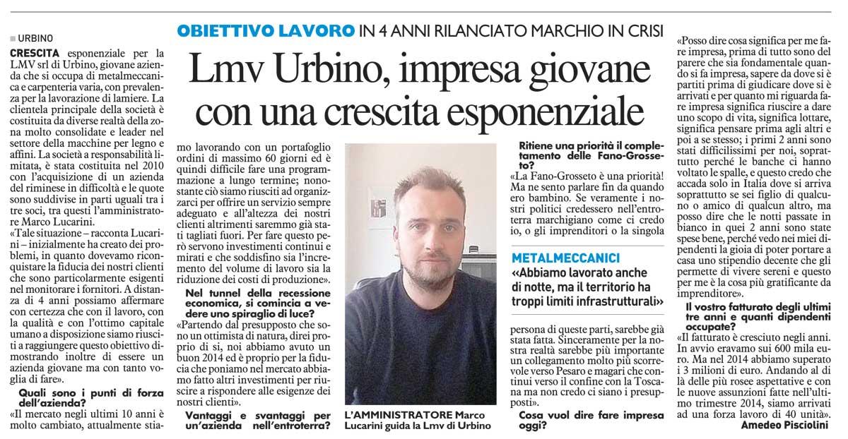 Articolo di giornale – LMV s.r.l., crescita esponenziale